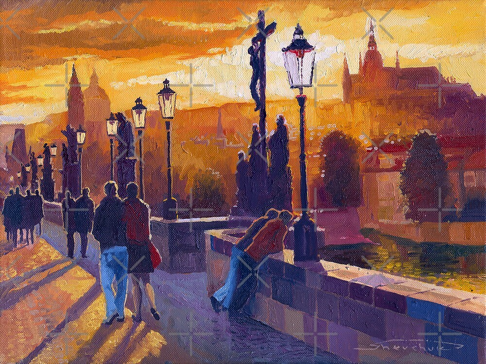 Golden Prague Charles Bridge Sunset by Yuriy Shevchuk