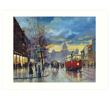 Prague Vaclav Square Old Tram Imitation by Cortez Art Print
