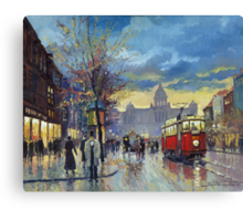 Prague Vaclav Square Old Tram Imitation by Cortez Canvas Print