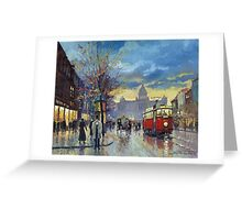 Prague Vaclav Square Old Tram Imitation by Cortez Greeting Card