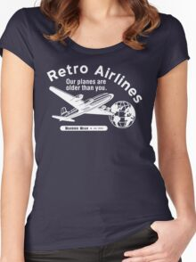 Retro Airlines Logo (White) Women's Fitted Scoop T-Shirt