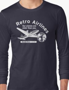 Retro Airlines Logo (White) Long Sleeve T-Shirt