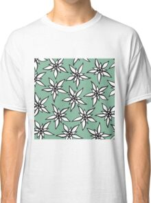 White & Black Hand Drawn Flowers on Teal Classic T-Shirt