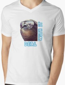 Sloth - Deal with it Mens V-Neck T-Shirt