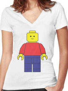 Original Lego Mini Figure Women's Fitted V-Neck T-Shirt
