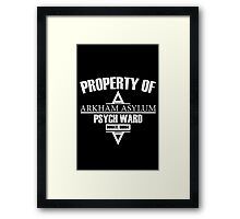 Arkham Asylum // Psych Ward Inmate Design // White Font Framed Print