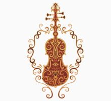 Aged Vintage Red and Yellow Tribal Violin Design One Piece - Short Sleeve