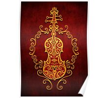 Aged Vintage Red and Yellow Tribal Violin Design Poster