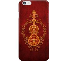 Aged Vintage Red and Yellow Tribal Violin Design iPhone Case/Skin