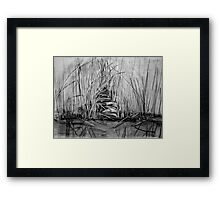 Grasses at lakeside - Newport Lakes Melbourne Australia Framed Print