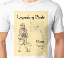 Pirate Legends - Henry Every on Parchment Unisex T-Shirt