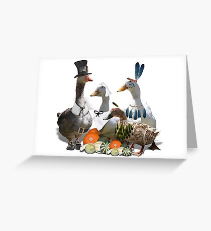 Pilgrims & Indians Thanksgiving Goose and Ducks Greeting Card