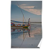 Fisherman on an outrigger canoe at Sanur Beach, in Bali, Indonesia Poster