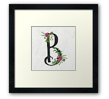 Letter B with Floral Wreaths Framed Print