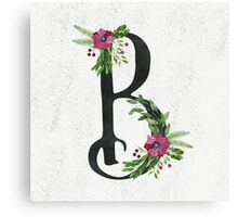 Letter B with Floral Wreaths Canvas Print