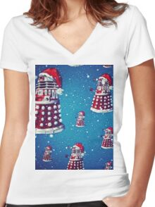 Christmas style Doctor who Daleks  Women's Fitted V-Neck T-Shirt