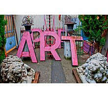 Pop Art lettering and cement lions at l'isle-sur-la-sorge, France Photographic Print