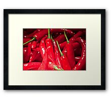 Red hot chilies for sale at the market in Amlapura in Bali, Indonesia Framed Print
