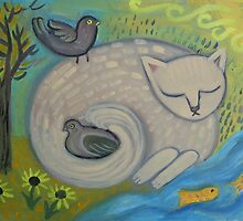 Cat Dreams by sharonkfolkart