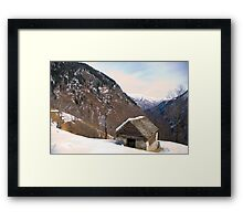 hut in the snow Framed Print