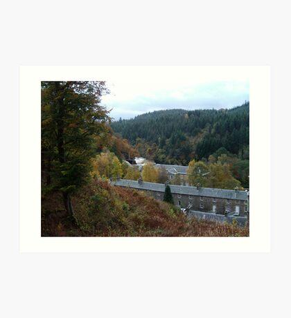 A View of New Lanark Mill, Scotland Art Print