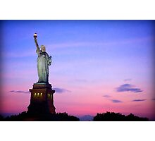 Sunset over Statue of Liberty Photographic Print