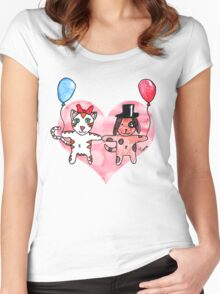 Kitty Loves Puppy by Tane (10) Women's Fitted Scoop T-Shirt