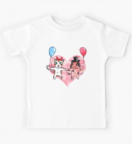 Kitty Loves Puppy by Tane (10) Kids Tee