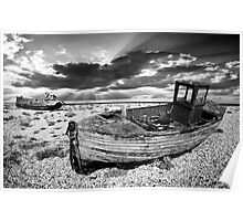 abandoned trawlers at dungeness Poster