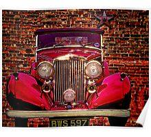 Vintage 1945 Red Bentley Poster