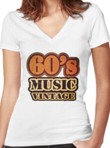 60's Music Vintage T-Shirt Women's Fitted V-Neck T-Shirt