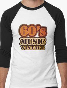 60's Music Vintage T-Shirt Men's Baseball ¾ T-Shirt