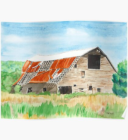 Old Arkansas Barn with Patchy Roof Poster