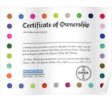 Official Certificate of Ownership Poster