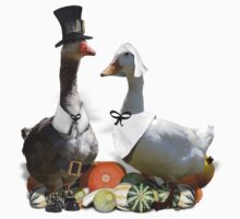 Thanksgiving Pilgrim Geese One Piece - Short Sleeve