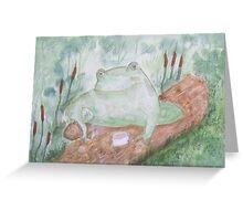 Frog having a tea break. Greeting Card