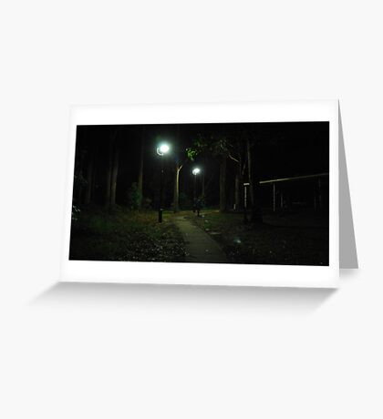 Lady Walking in the Dark Greeting Card