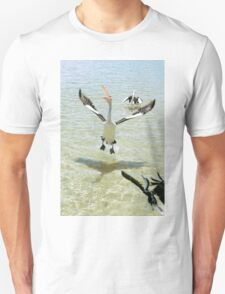 Pelicans feeding in the water T-Shirt