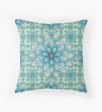 Embroidered blue & green Throw Pillow