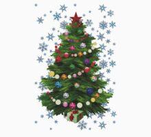 Christmas tree & snow on blue One Piece - Short Sleeve