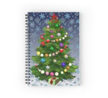 Christmas tree & snow on blue Spiral Notebook