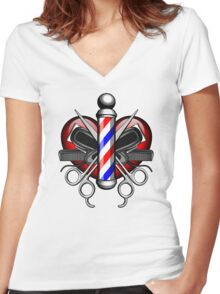 Heart Barbers Women's Fitted V-Neck T-Shirt