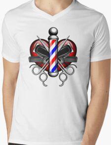 Heart Barbers Mens V-Neck T-Shirt