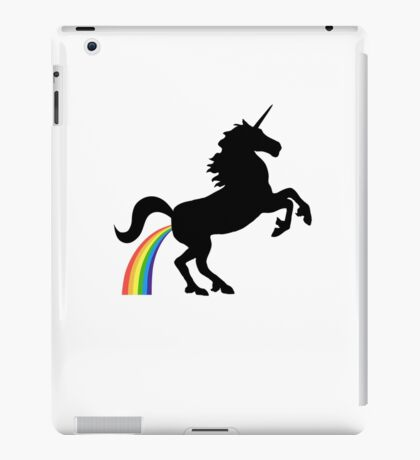 Unicorn Rainbow Poo (black design) iPad Case/Skin