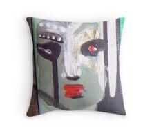 green man war mask for earth 3 Throw Pillow