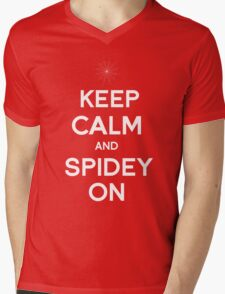 Keep Calm and Spidey On Mens V-Neck T-Shirt