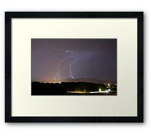 Lightning over residential area of Ljubljana Framed Print