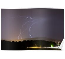 Lightning over residential area of Ljubljana Poster