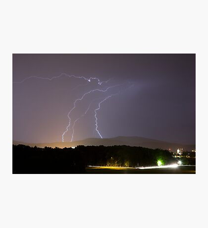 Lightning over residential area of Ljubljana Photographic Print
