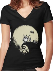Neighbour Before Christmas - Totoro Women's Fitted V-Neck T-Shirt